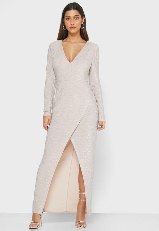 Front Split Plunge Wrap Dress