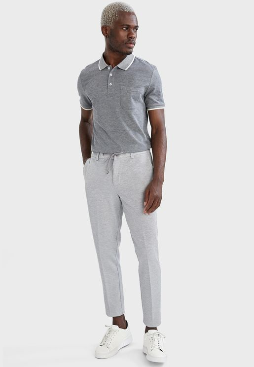Drawstring Straight Fit Trousers
