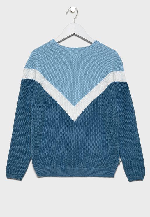 Teen Color Block Sweater