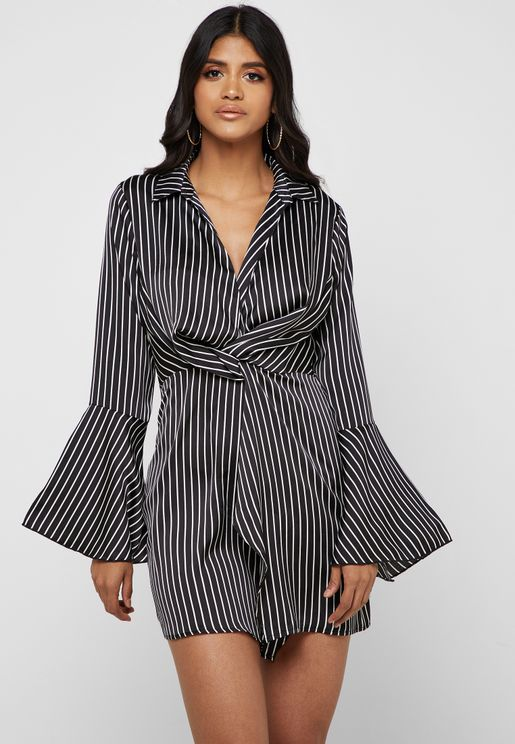8e4421a745445 Pinstripe Front Twisted Dress
