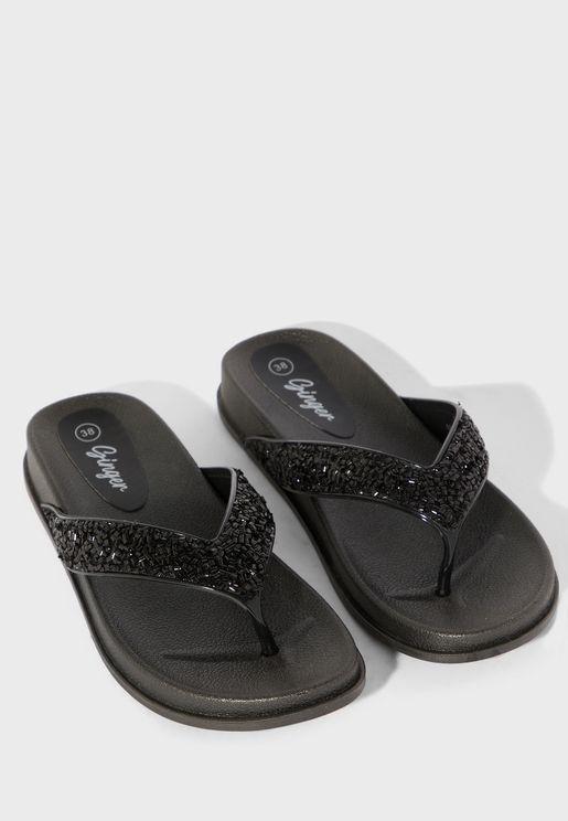 Glitter Toe Post Flip Flops