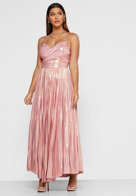 Abito Shimmer Pleated Dress
