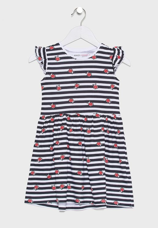 Little Ruffle Trim Striped Dress