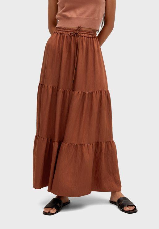 Drawstring Waist Tiered Skirt