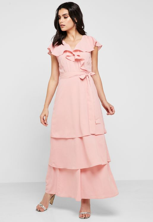 فستان مكسي بكشكش واربطة