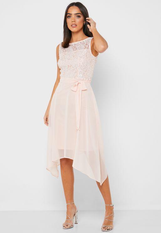 Asymmetric Lace Detail Dress