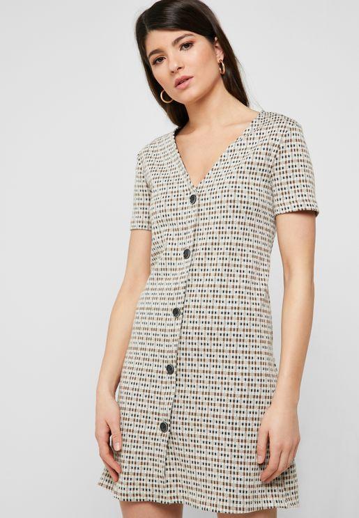 Button Down Printed Dress