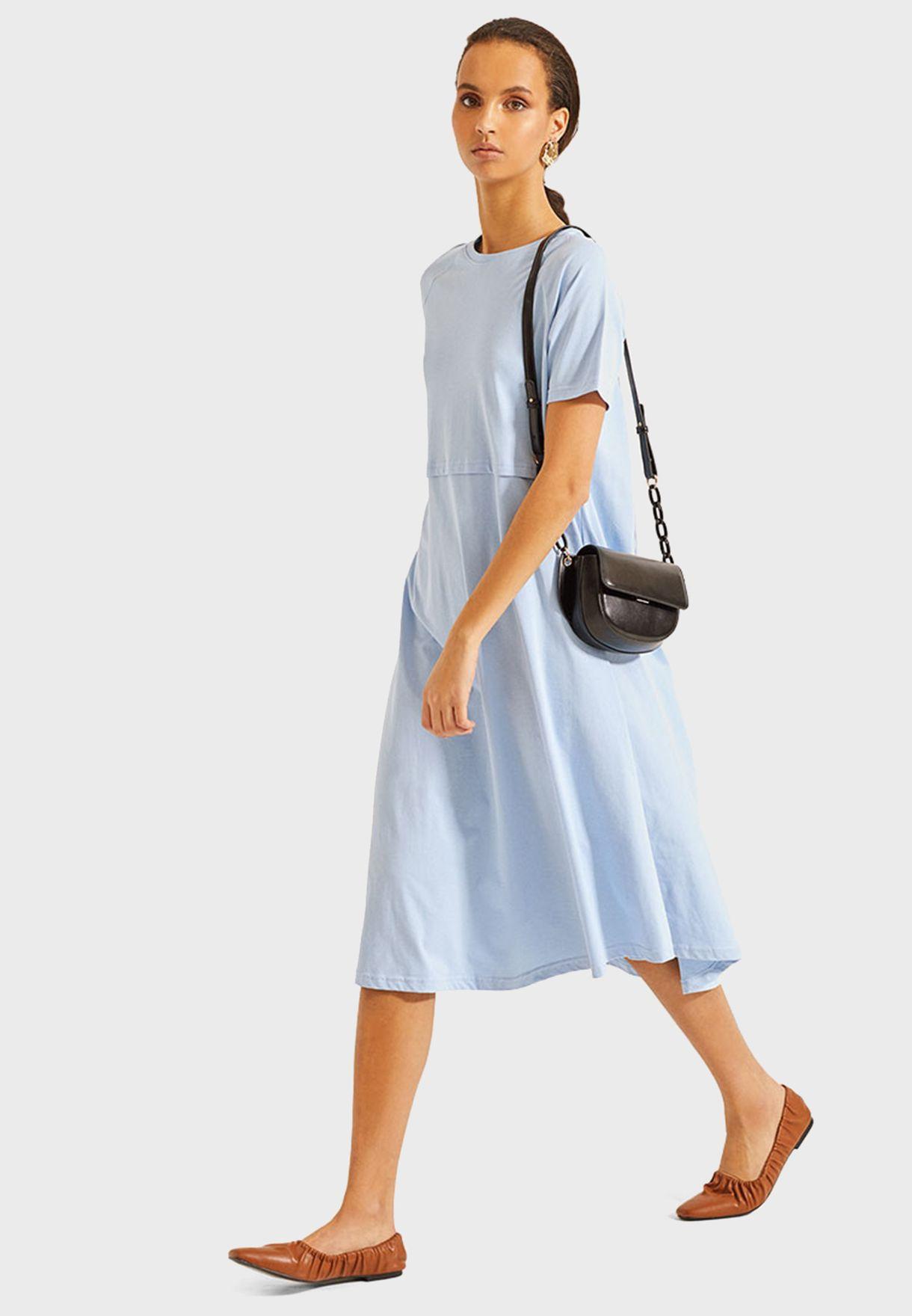 Round Neck Pleated Dress