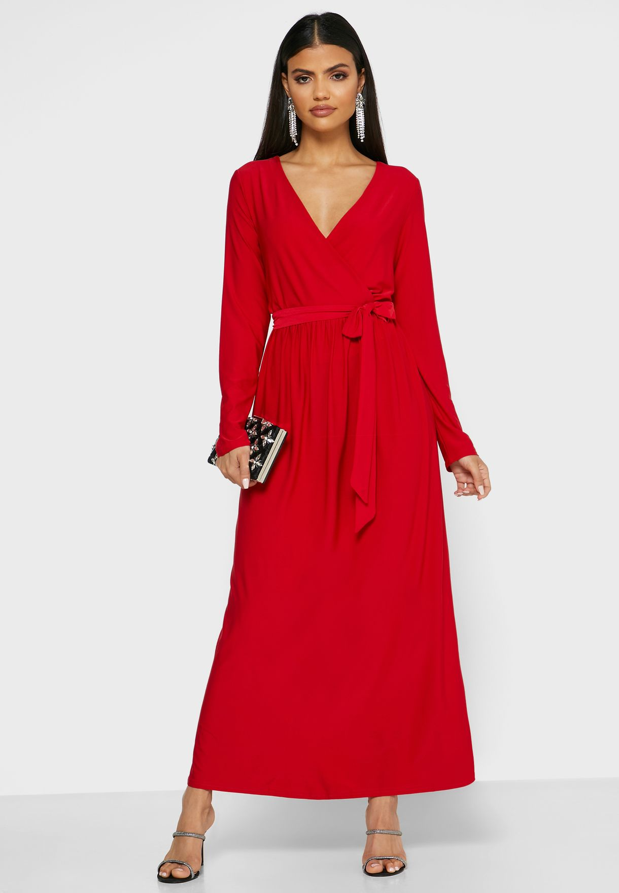 Self Tie Wrap Front Maxi Dress