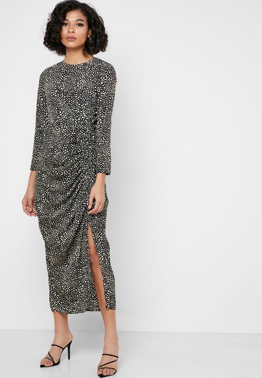 Leopard Print Ruch Detail Midi Dress