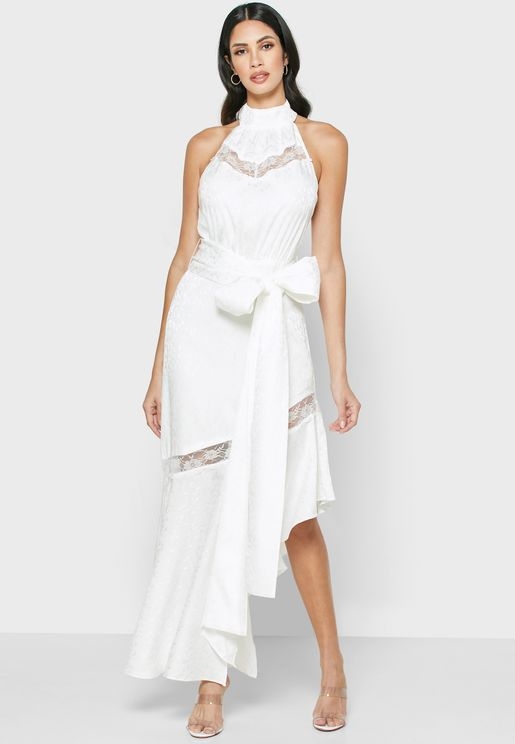 Amorphous Tie Waist Asymmetric Dress