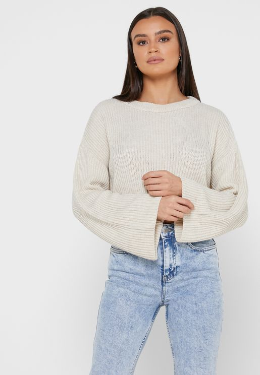 Ribbed Wide Sleeve Sweater