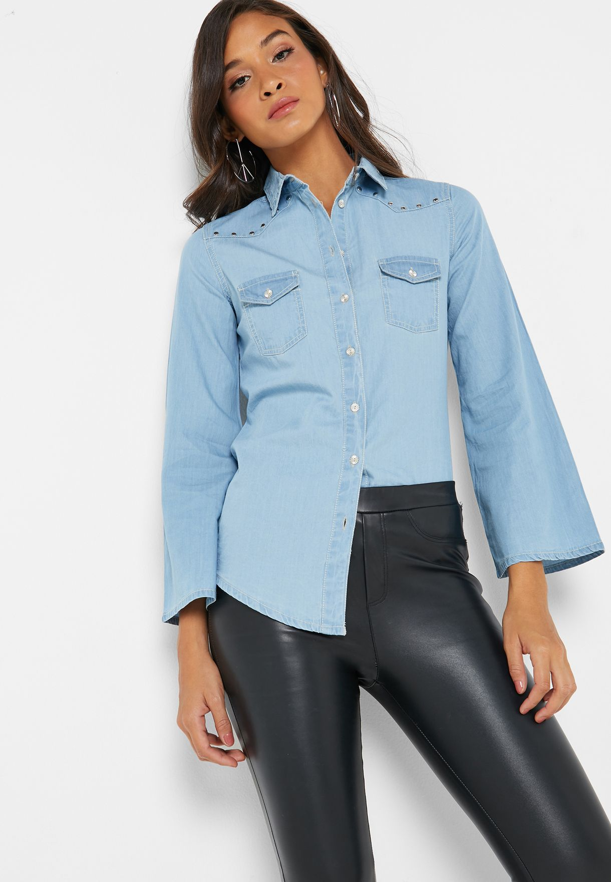 Bell Sleeve Denim Shirt