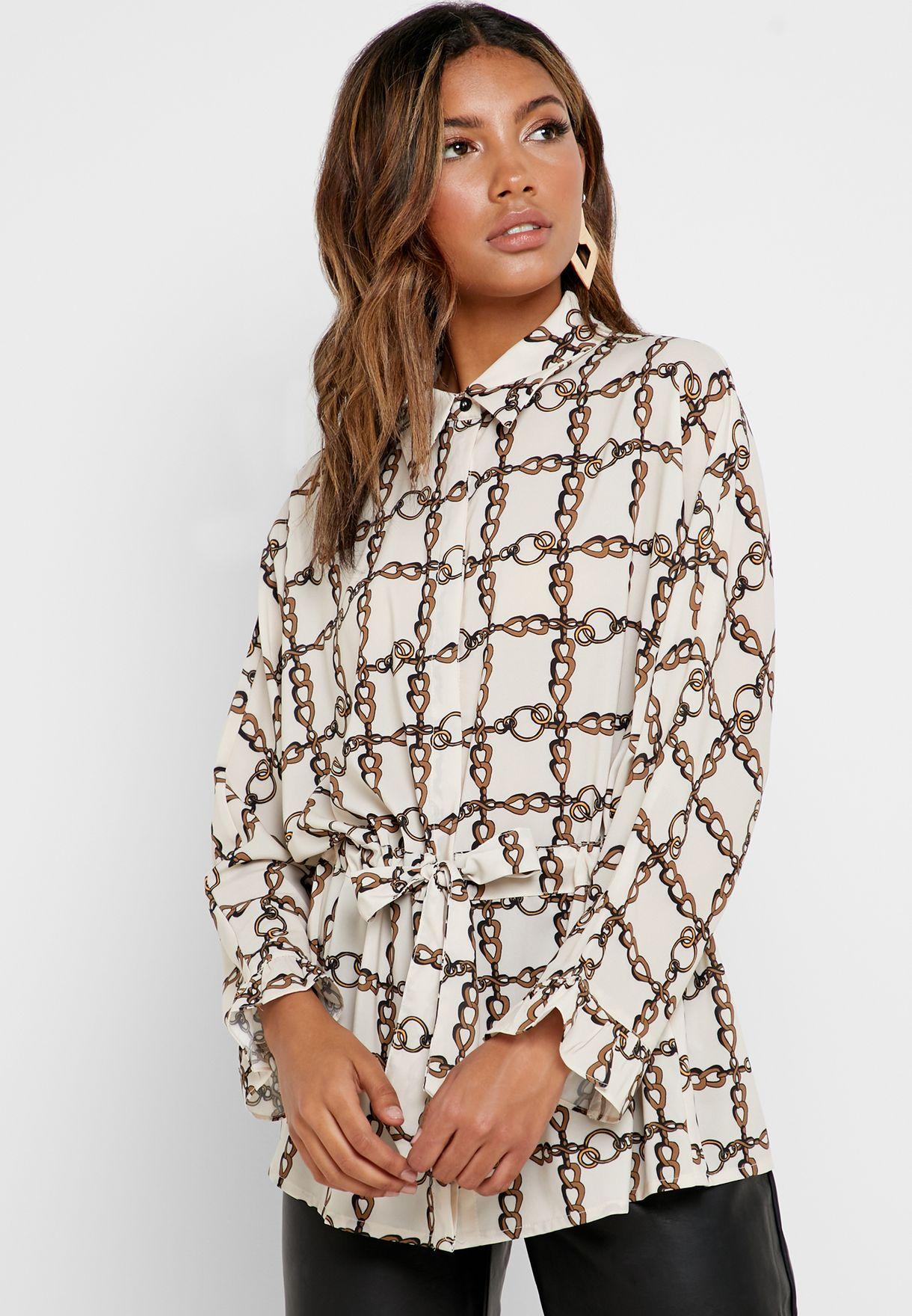Chain Print Drawstring Waist Shirt