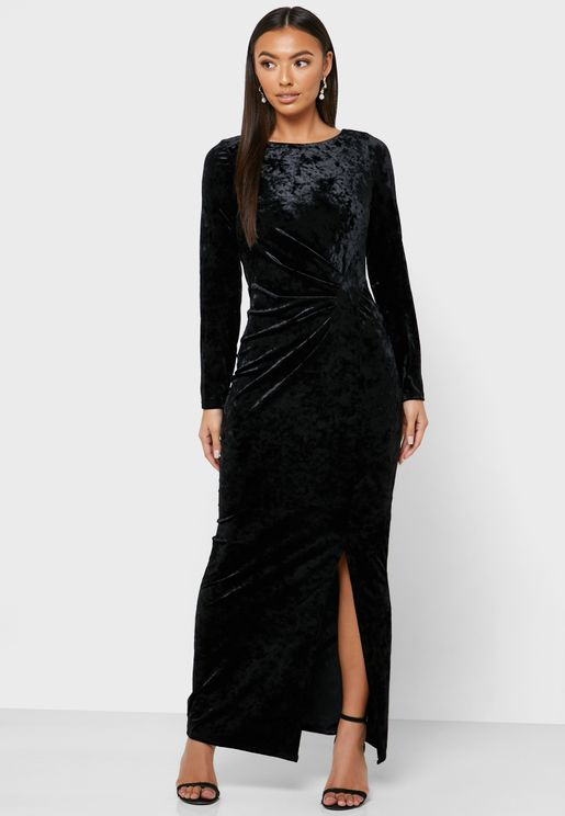 Side Split Velvet Bodycon Dress