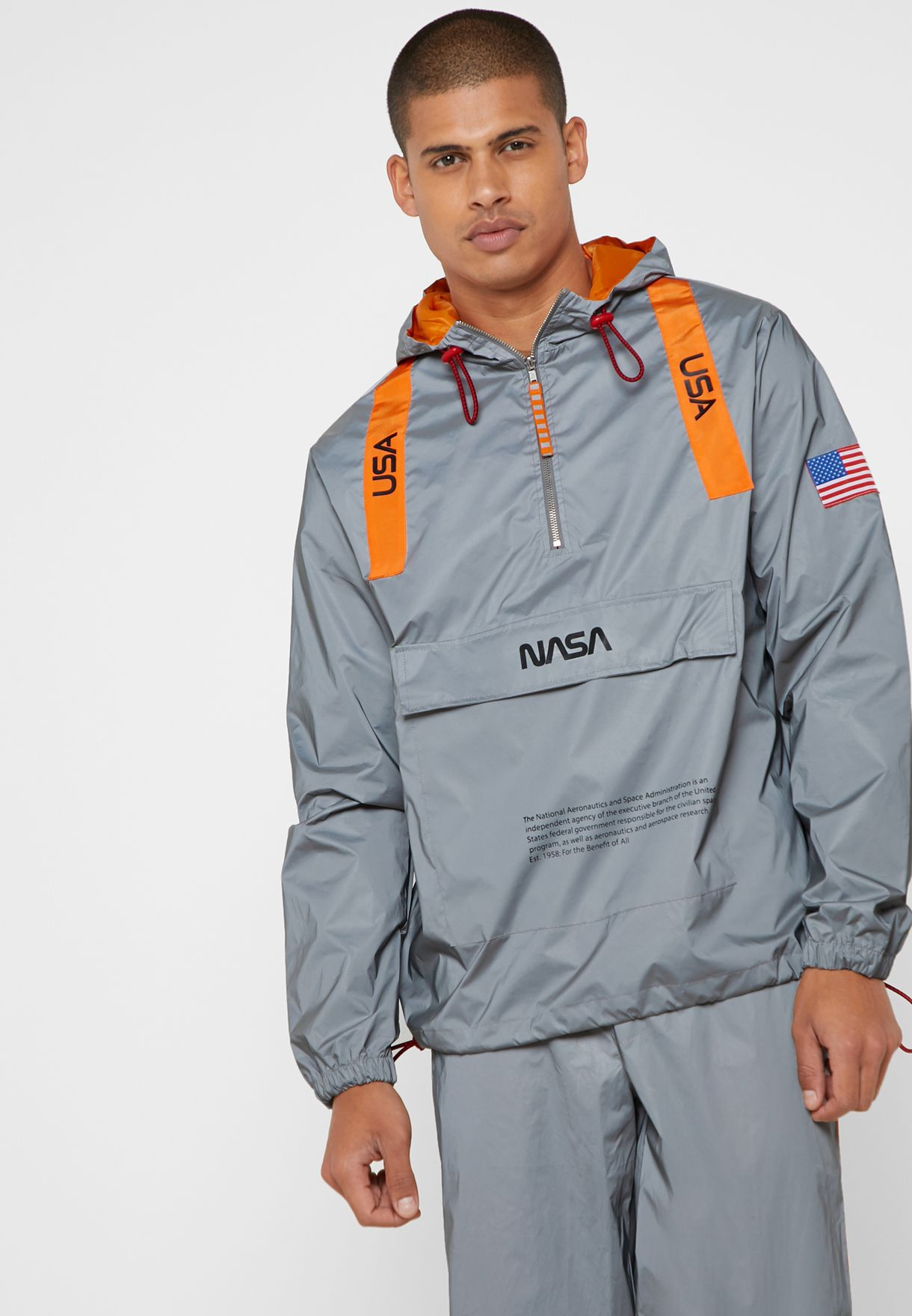 b946d5dfccc2 Shop Forever 21 silver NASA Graphic Reflective Hoodie 324291 for Men ...