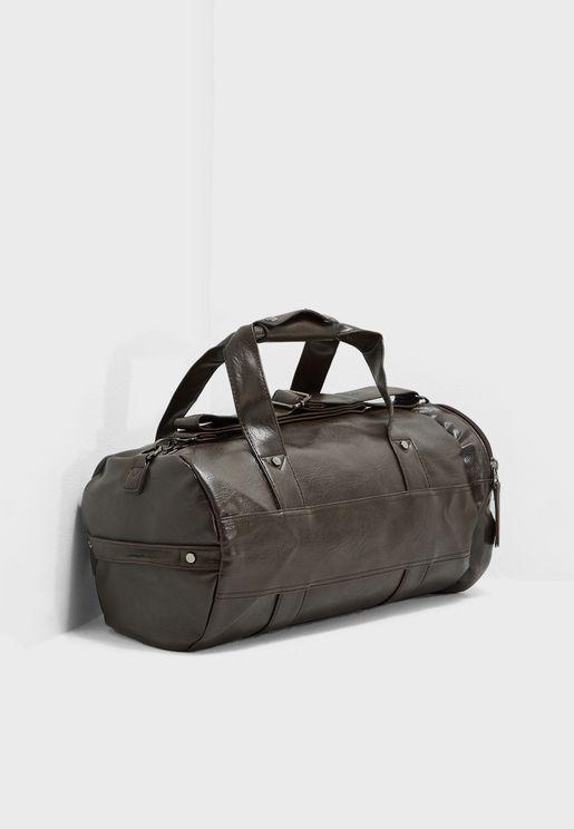 Classic Faux Leather Duffel Bag