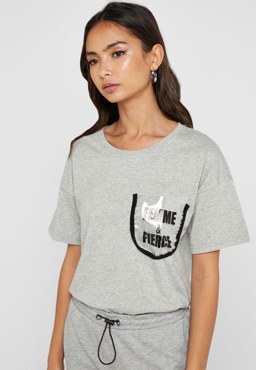 Slogan Pocket Detail T-Shirt