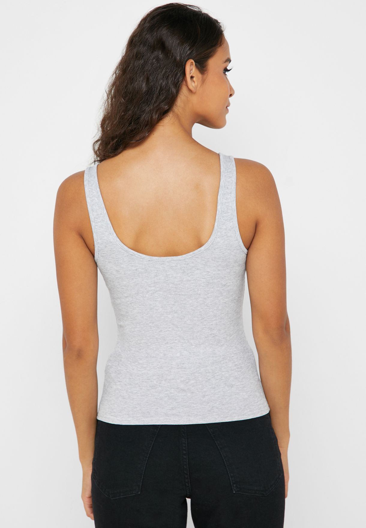Button Front Scoop Neck Top