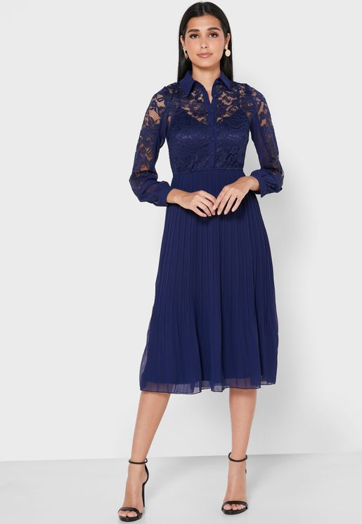 Lace Detail Pleated Shirt Dress