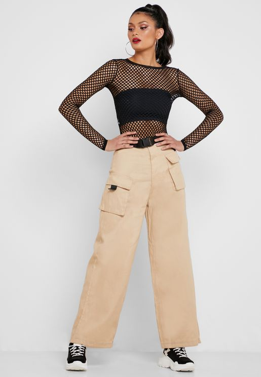 Pocket Detail Belted Pants