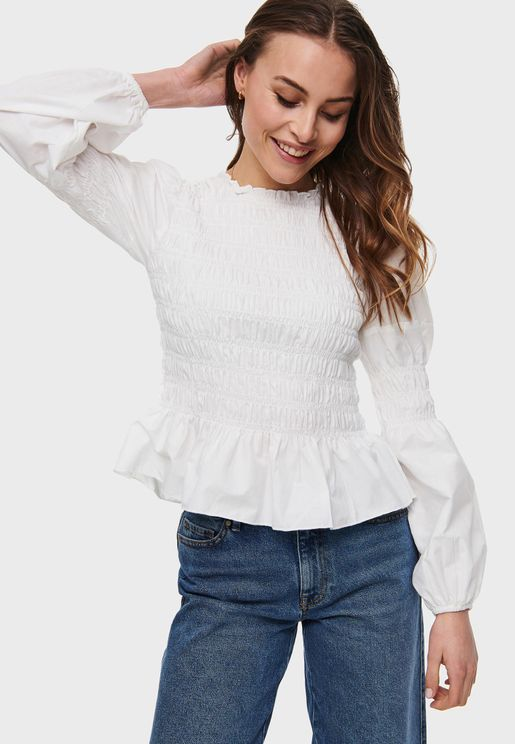 Shirred Flute Sleeve Top
