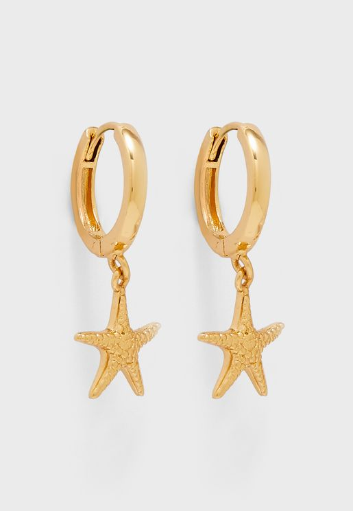 Starfish Drop Huggie Hoops