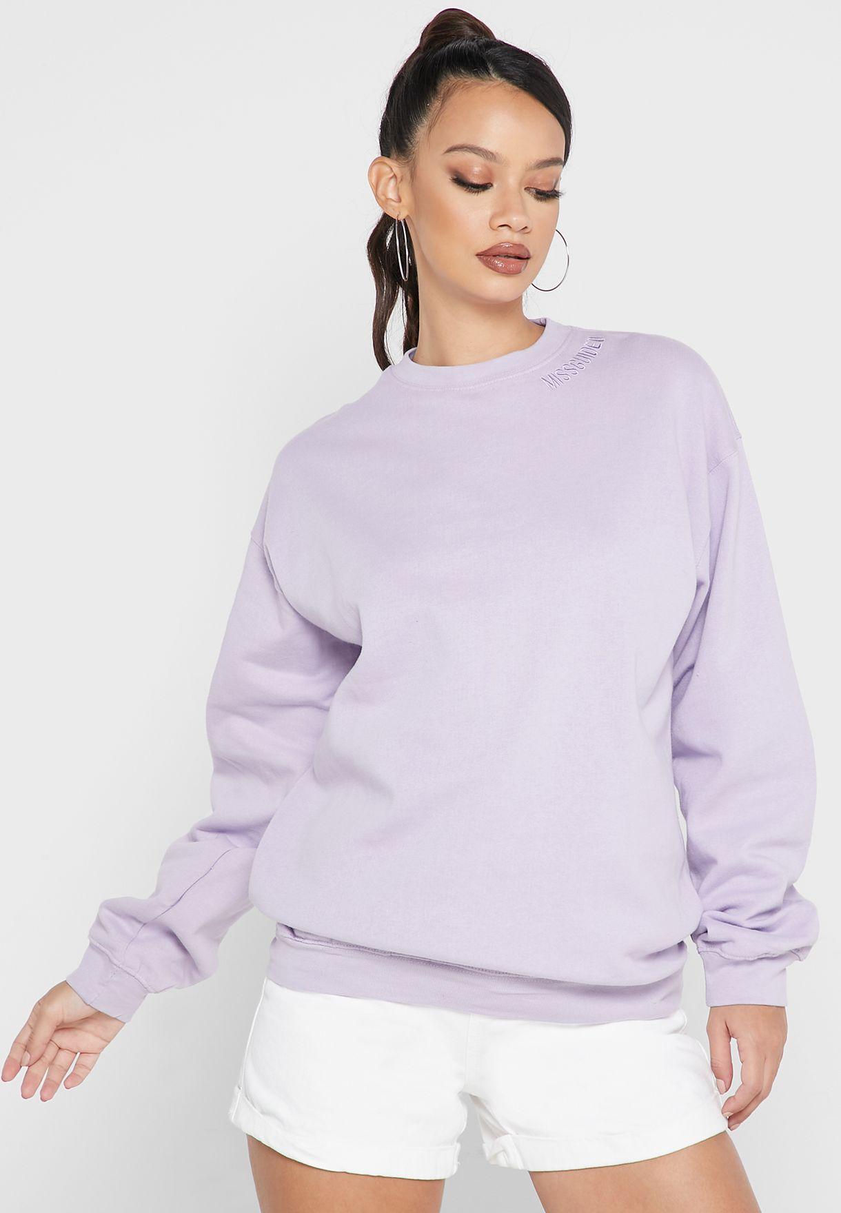 Tonal Neck Embroidery Oversized Sweater