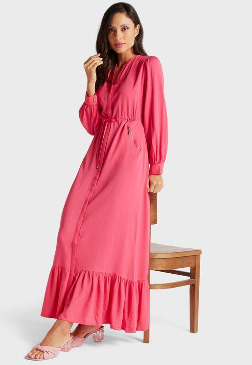 Pocket Detail Pleated Hem Dress