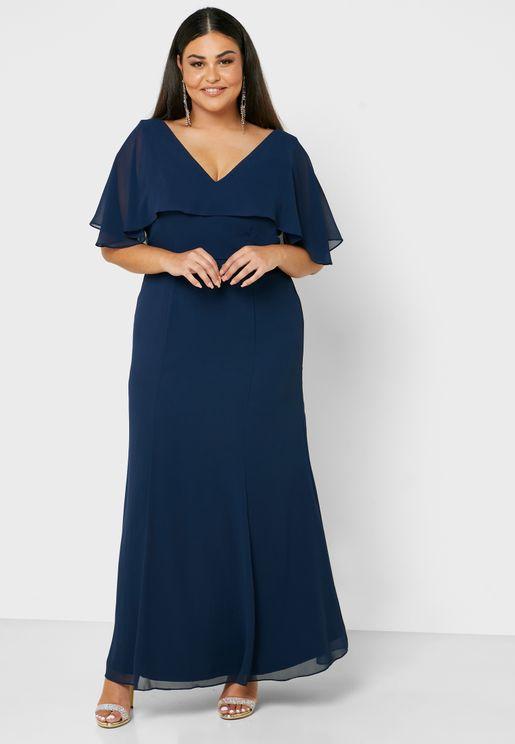 فستان ماكسي باجزاء شفافة