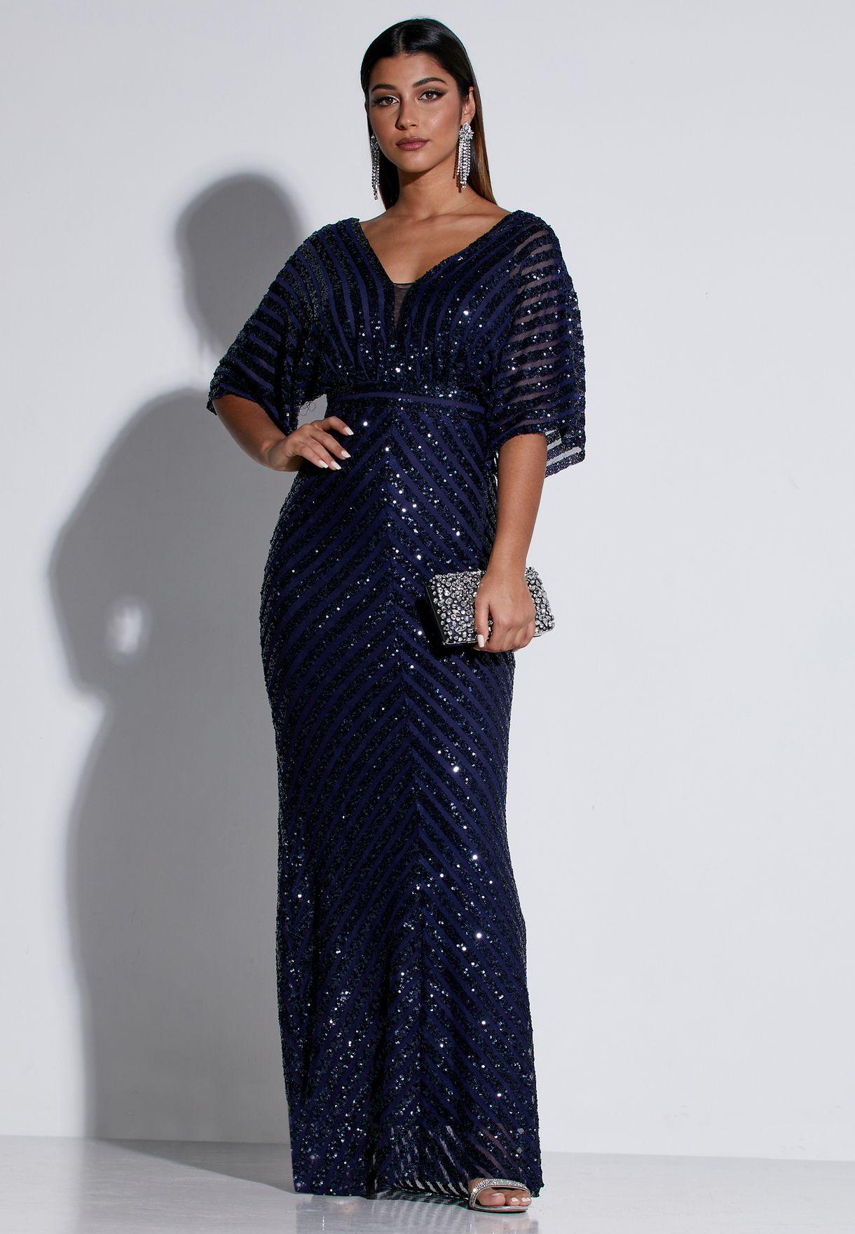 Sequin Chevron Maxi Dress