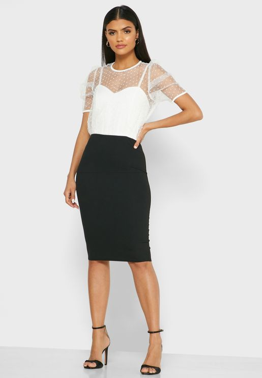 Mesh Detail Colorblock Dress