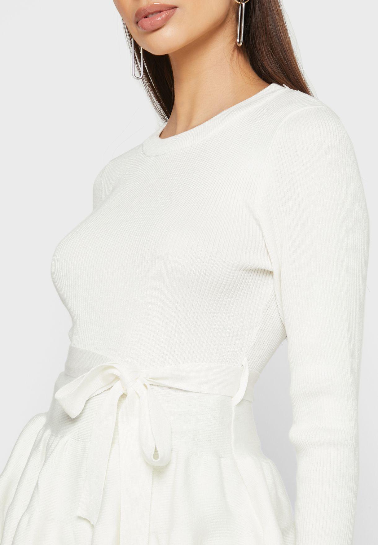 Self Tie Peplum Sweater