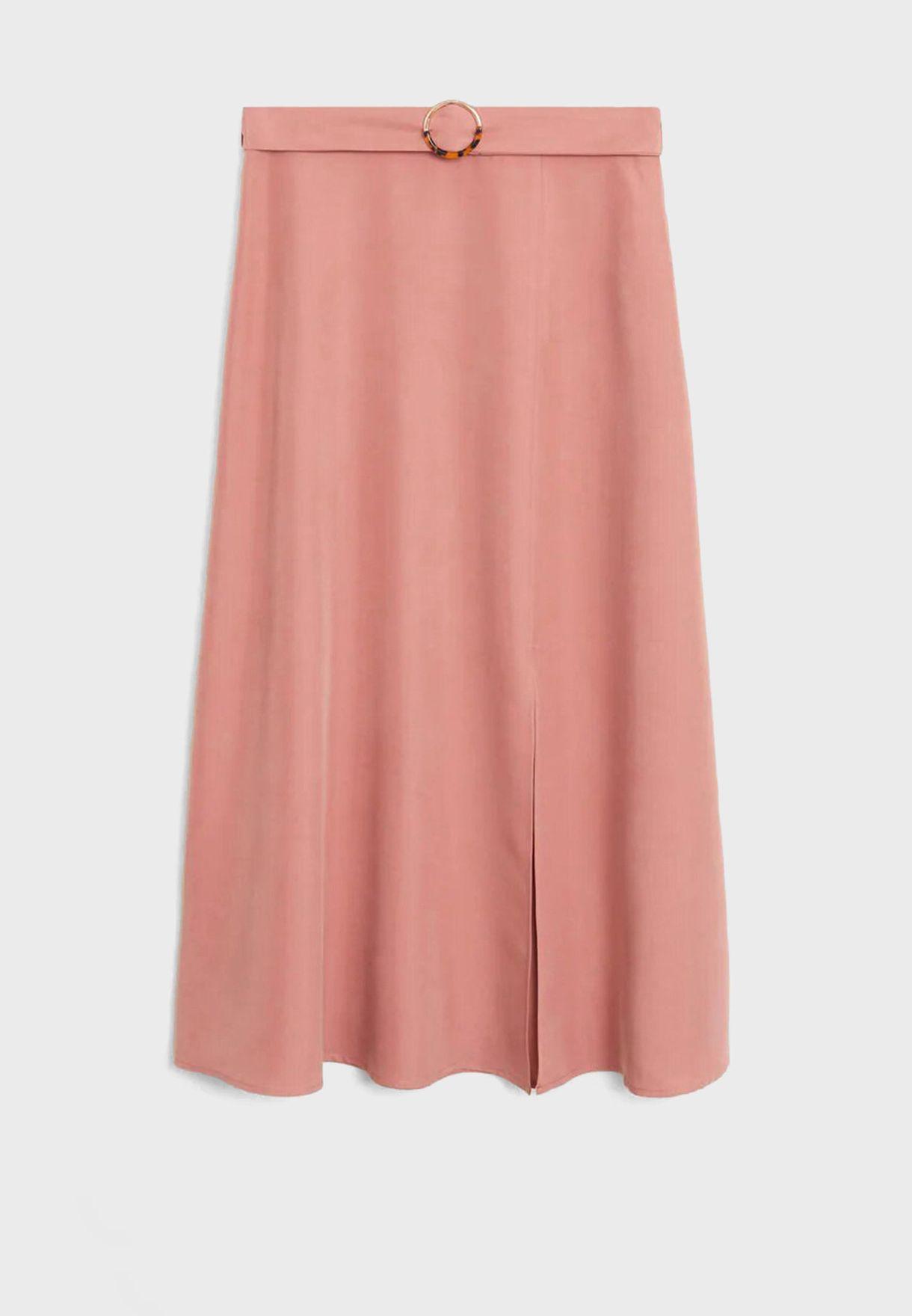 Belted Front Slit Skirt
