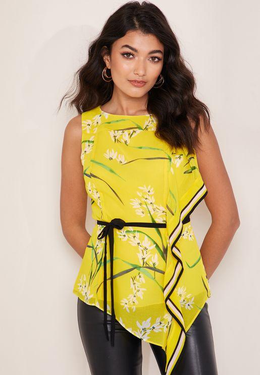 Oriental Floral Print Belted Top