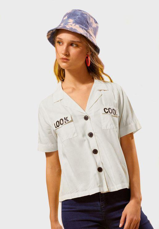 Slogan Button Down Shirt