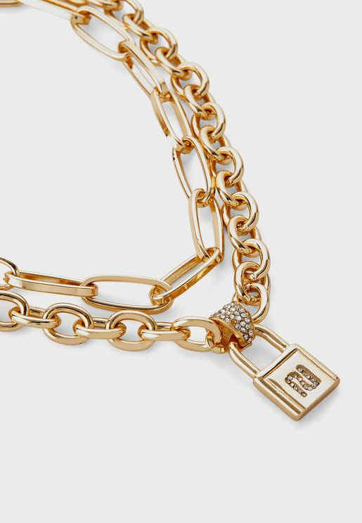 Logo Padlock Double Chain Necklace