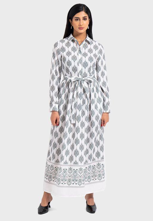 Tie Waist Printed Shirt Dress