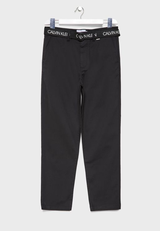 Logo Belted Slim Fit Trousers