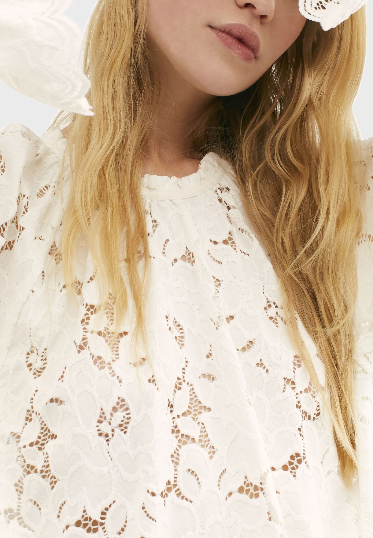 Olivia Sheer Lace Flute Sleeve Top