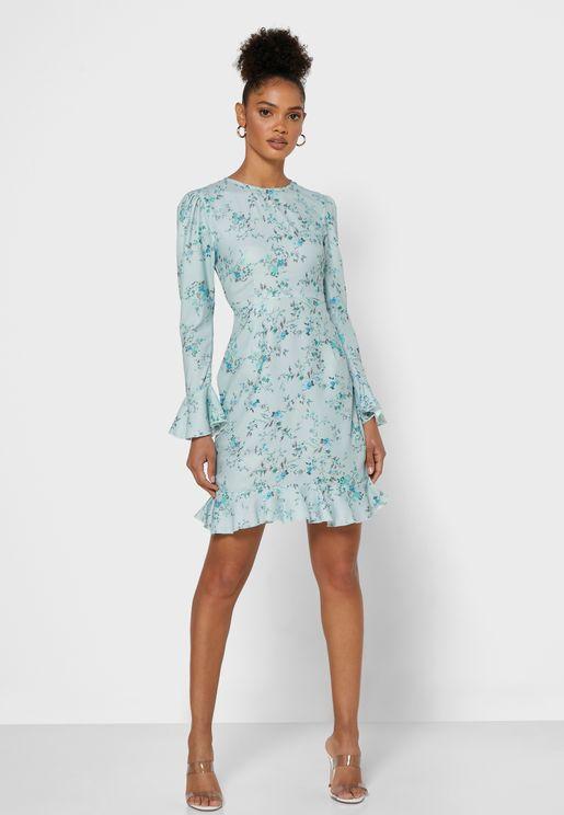 Floral Print Puffed Sleeve Mini Dress