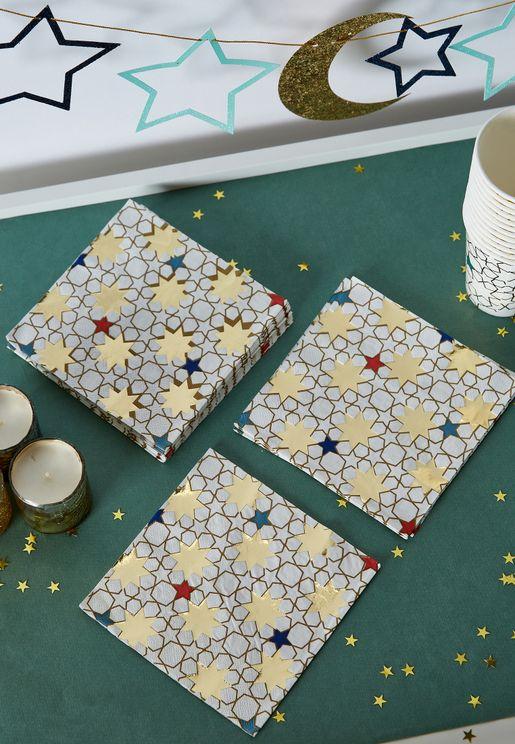 20 Pack Star Pattern Napkins
