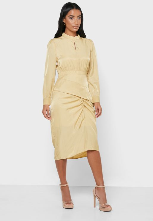 Ruched Detail Balloon Sleeve Dress