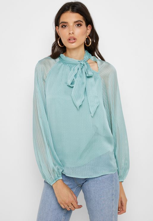 Tie Neck Long Sleeve Top