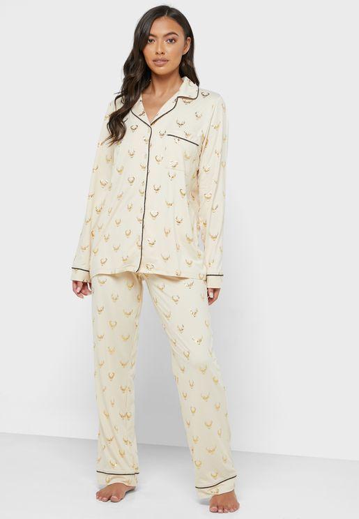 Christmas Piping Detail Shirt & Pyjama