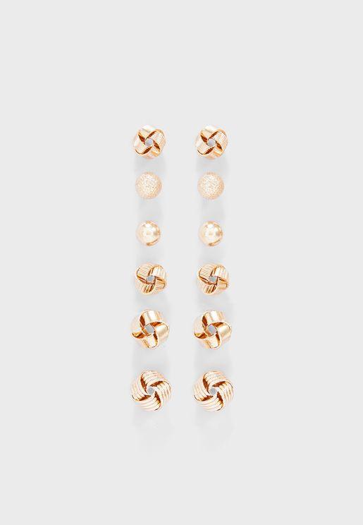 6 Pairs Stud Earring Set