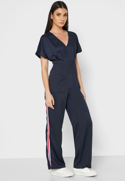 Contrast Tape Paneled Jumpsuit