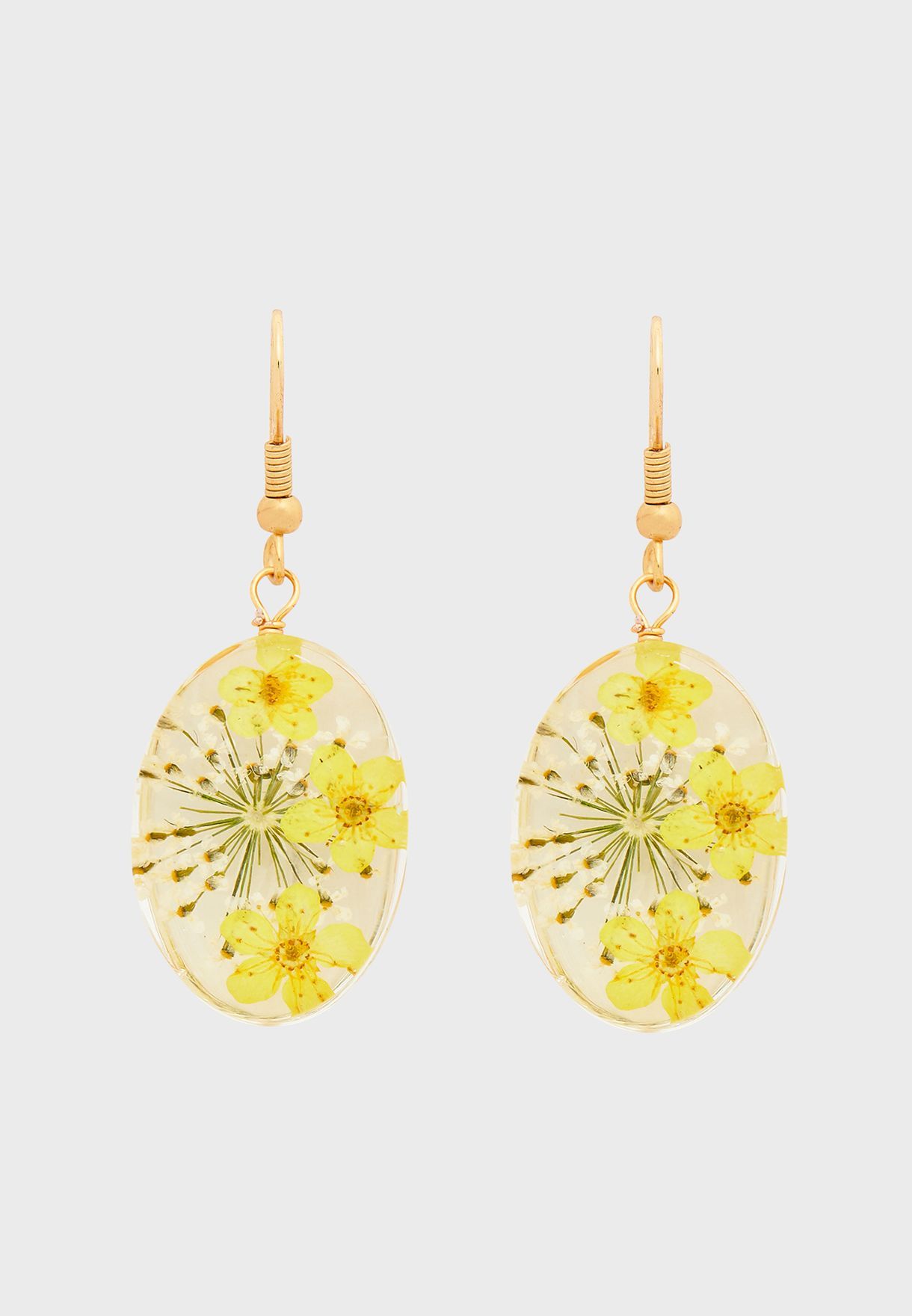 Trapped Flower Drop Earrings