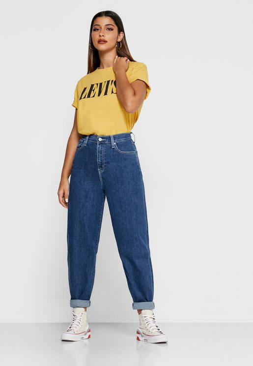 جينز بخصر عالي وارجل واسعة