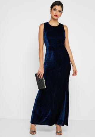 4f9e966e9 Ella Limited Edition. Sash Neck Velvet Maxi Dress